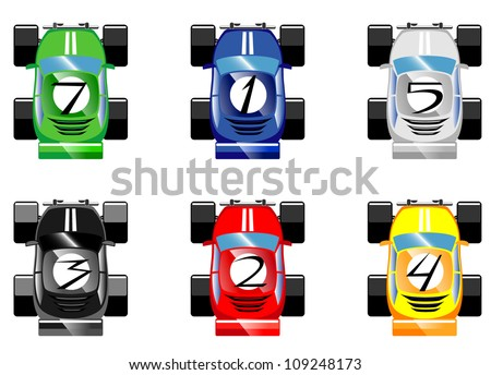 set of cartoon racing cars.vector 2
