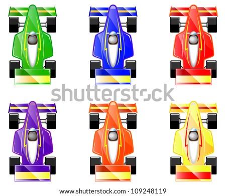 set of cartoon racing  Race Car Cartoon Top View