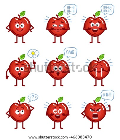 Set of cartoon red apple characters showing different emotions, actions, gestures. Red apple laughing, pointing, crying, thinking, angry, surprised and doing other actions. Simple vector illustration