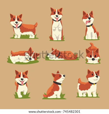 set of cartoon red haired corgi