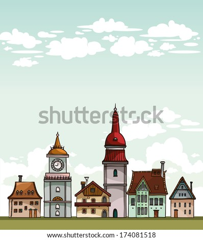 set of cartoon residential
