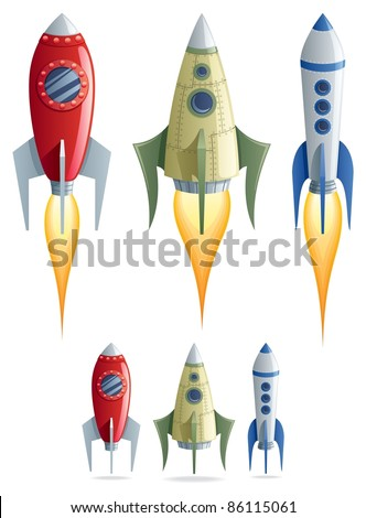 set of 3 cartoon rockets in 2