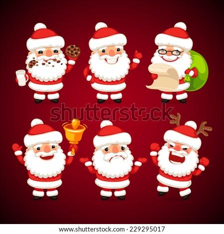 set of cartoon santa claus in