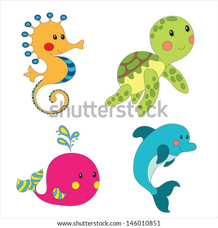 set of cartoon sea creatures