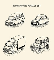 Set of cartoon sketch style cars ,isolated,vector