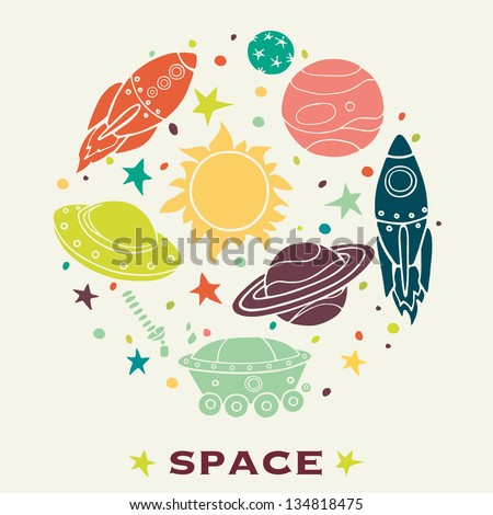 set of cartoon space elements