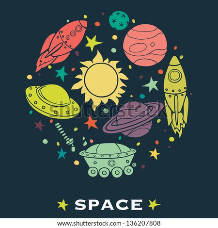 Set of cartoon space elements: rockets, planets and stars. Childish background. Vector illustration.
