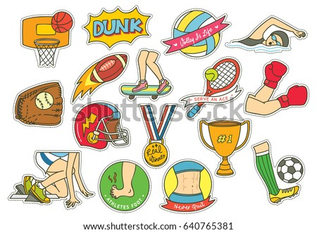 set of cartoon sport themed
