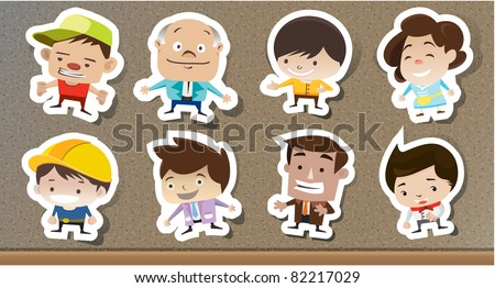 Set of cartoon stickers on the board . vector illustration