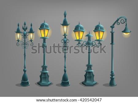 Set of cartoon street light . Vector illustration.