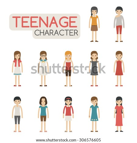 set of cartoon teenagers