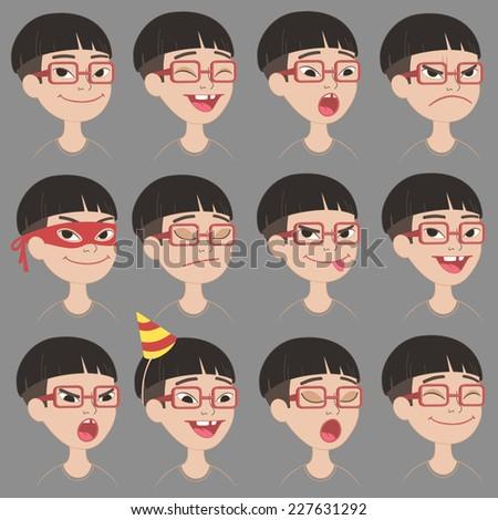 set of cartoon toothless asian