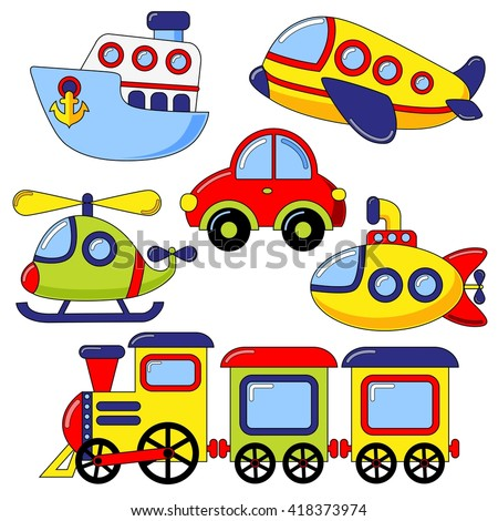 set of cartoon transport icon