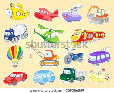 set of cartoon transport  plane
