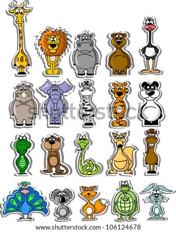 Set of cartoon vector animals