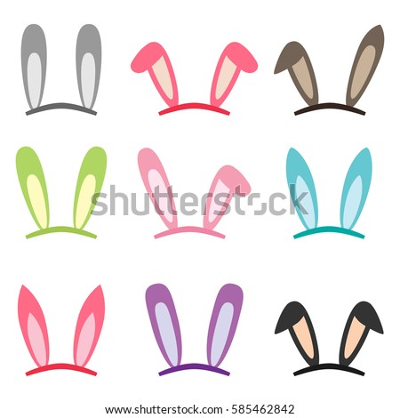 set of cartoon vector bunny and