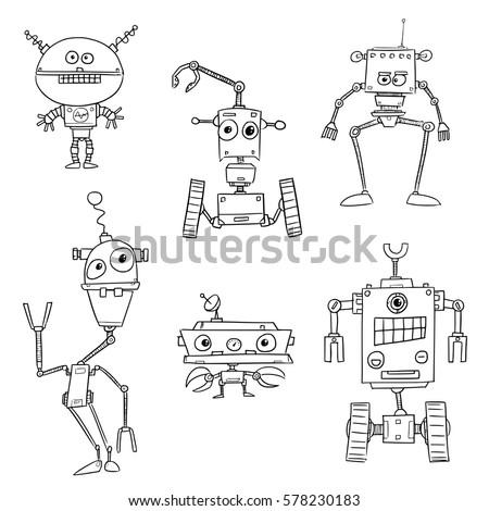 set of cartoon vector doodle