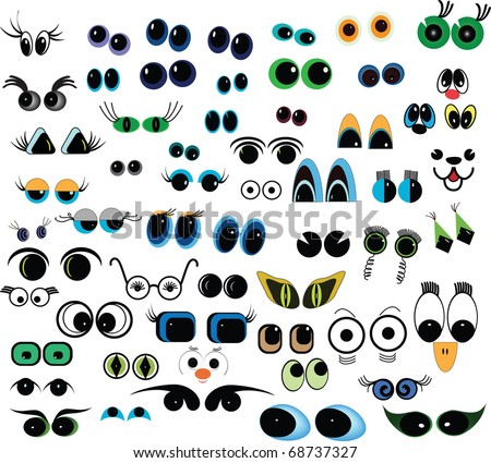 Set of cartoon vector eyes over white background
