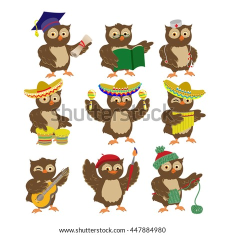 set of cartoon vector owls of