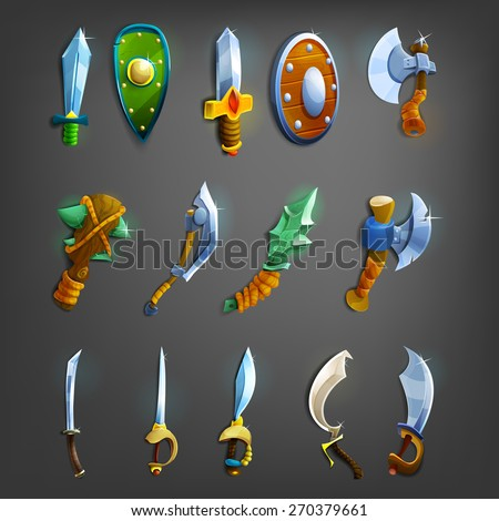 set of cartoon weapons vector