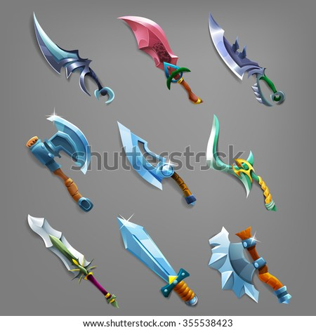 set of cartoon weapons vector