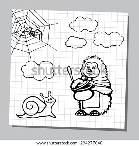 Set of cartoon wild animals and insect, black and white outline