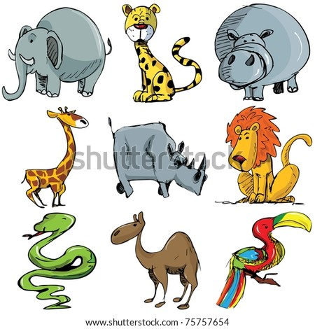 Set of cartoon wild animals isolated on white