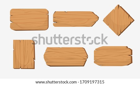Set of cartoon wood badge banner vector graphic illustration. Collection of various shape wooden sign board isolated on white background. Rustic vintage signboard isometric style with place for text