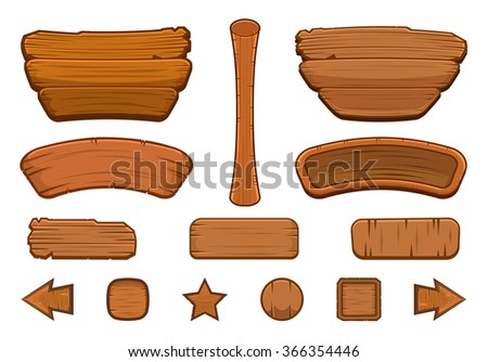 set of cartoon wooden buttons