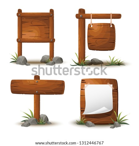 Set of cartoon wooden planks or signboards. Collection of old, retro banners with metal nails for messages or pointers for path finding with stones and grass around and realistic shadow.