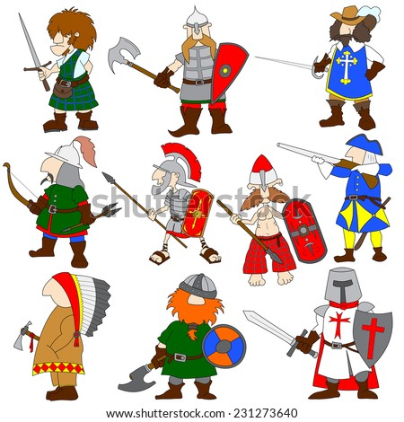 Set of 10 cartoon world warriors with their traditional ammunition. Viking, highlander, musketeer, Roman legionary, crusader, American Indian, gaul, Mongolian archer, slavic knight  Swedish Carolean.