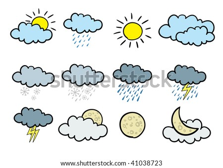 Set of 12 cartoonish vector weather icons.