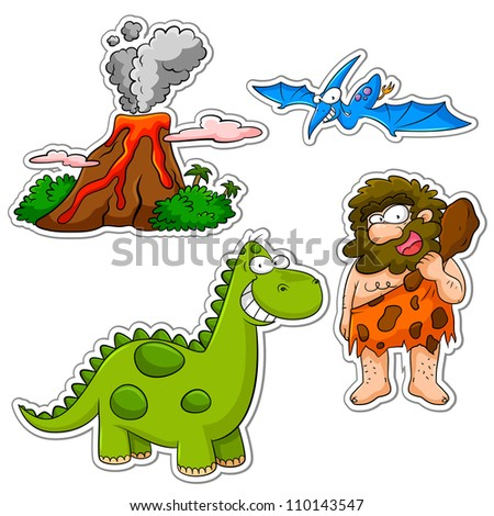 set of cartoons related to the prehistoric age (jpeg version available in my gallery)