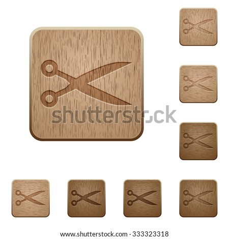 set of carved wooden cut
