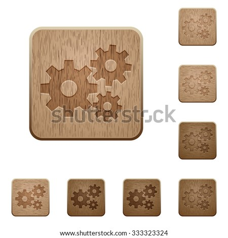 set of carved wooden gears