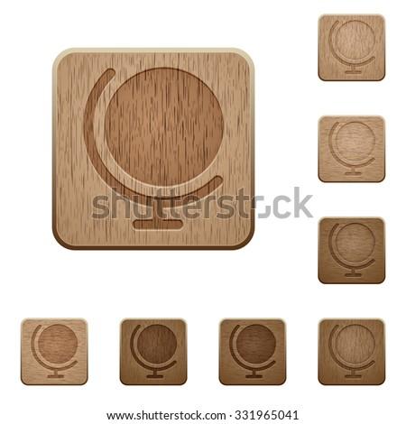 set of carved wooden globe