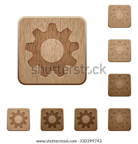 set of carved wooden settings