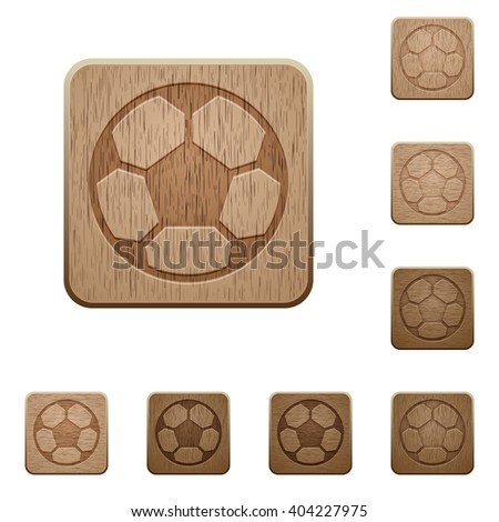 set of carved wooden soccer