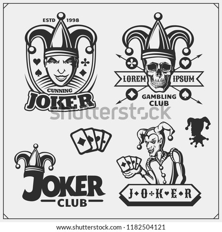 set of casino and poker emblems