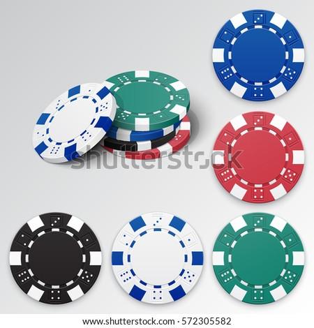 set of casino chips vector
