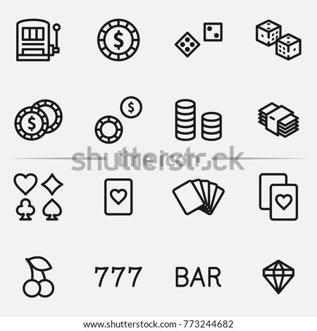 Set of casino elements vector thin line icons.