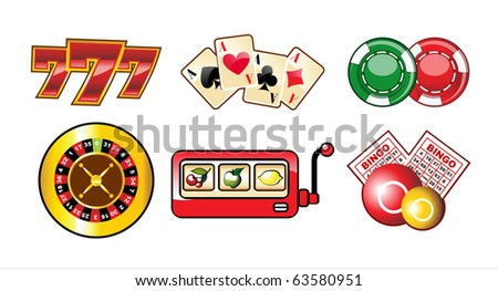 set of casino icons isolated over white background