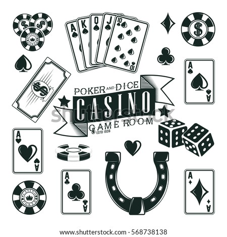 set of casino  poker and dice