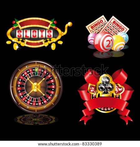 Set of casino`s items on black background
