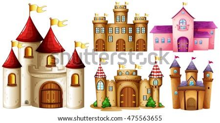 set of castle illustrations on