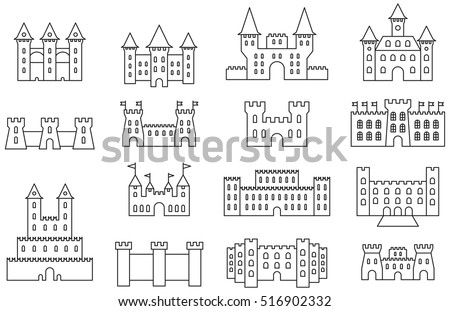Set Of CASTLES FORTRESS Outline Icons