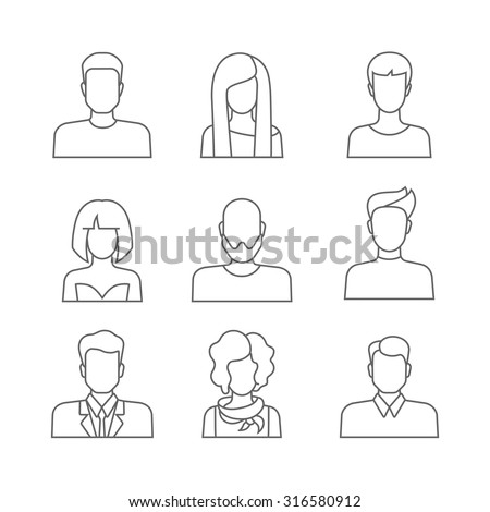 Set of casual people icons in lineart outline style with faces. Vector men and women characters. Template concept collection of web profile avatar. Line-art outlined trendy graphics.