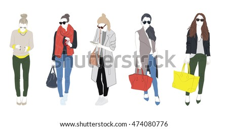 set of casual trendy young girl fashion