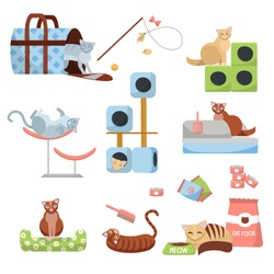 set of Cat accessories cats: scratching post, house, bed, food , tray, slipper, carrier and toys with 8 cats. Pet shop cat stuff. Set of items for the care of kittens.Flat cartoon vector illustration