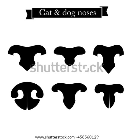 Set of cat and dog nose icons. Elements of logo for pet shop, styling and grooming salon, cat and dog products or services. Vector Illustration